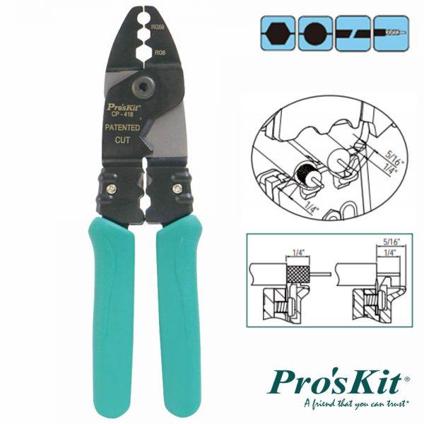 Alicate De Cravar Fichas Coaxiais Rg Proskit - (CP-418)