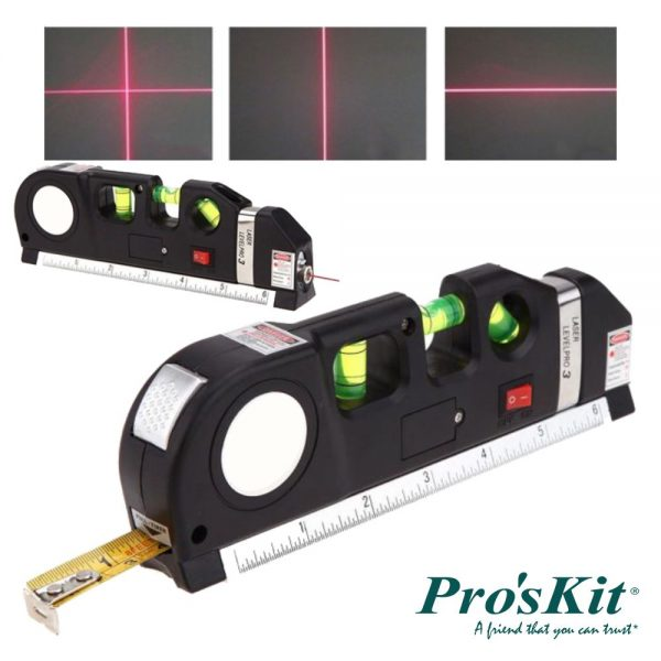 Fita Métrica 2.5m C/ Nível Bolha E Laser Nivelador PROSKIT - (PD-161-C)