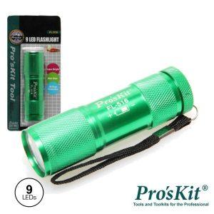 Lanterna Alumínio 9 LEDS Alto Brilho Verde PROSKIT - (FL-516)