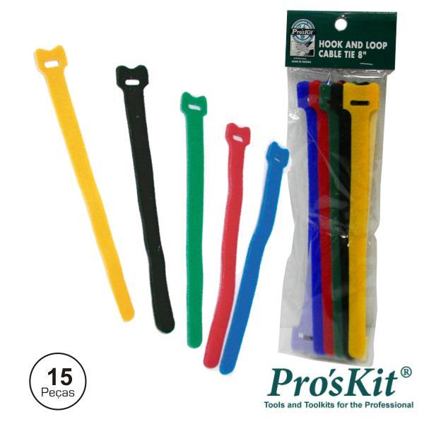 Braçadeira Velcro Multicor 125mm 15x PROSKIT - (MS-V305)