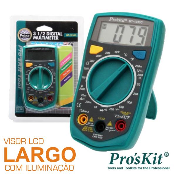 Multímetro Digital 3½ Dígitos Retroiluminado PROSKIT - (MT-1233C)