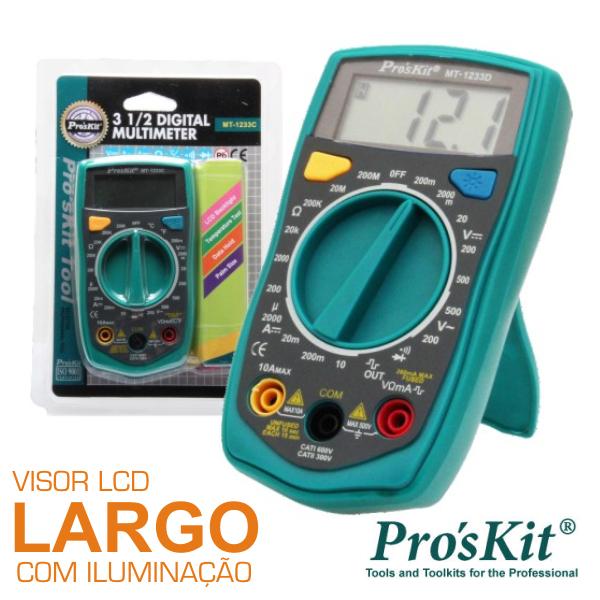 Multímetro Digital 3½ Dígitos Retroiluminado PROSKIT - (MT-1233D)