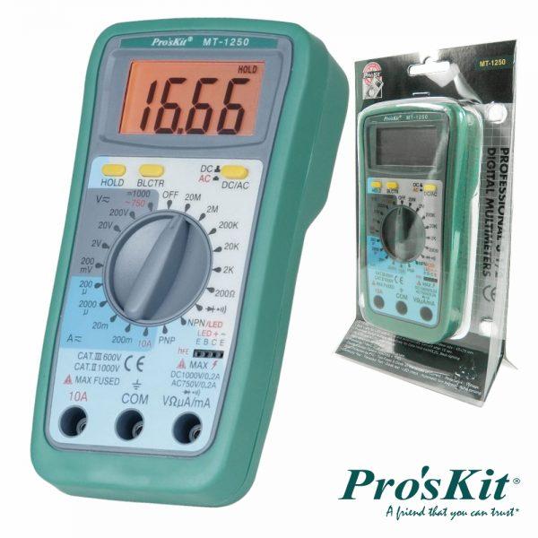 Multímetro Digital 3½ Dígitos Retroiluminado PROSKIT - (MT-1250)
