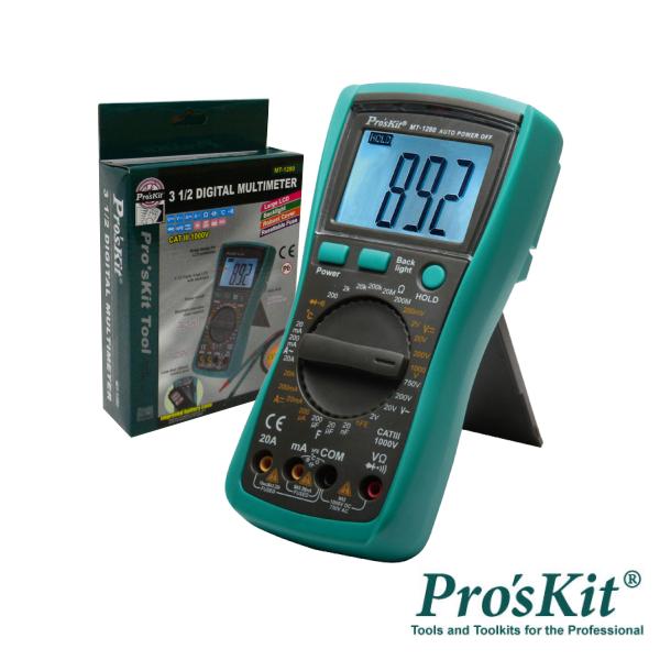 Multímetro Digital 3½ Dígitos Retroiluminado PROSKIT - (MT-1280)