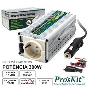 Conversor 12V-230V 300W Onda Sinusoidal Modificada PROSKIT - (TE-1203UB)