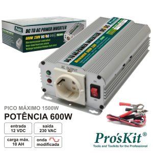 Conversor 12V-230V 600W Onda Sinusoidal Modificada PROSKIT - (TE-1206B)